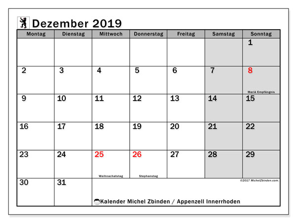Kalender Dezember 2019, mit den Feiertagen des Kantons Appenzell Innerrhoden. Kalender Feiertage frei zum ausdrucken.