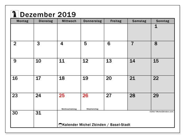 Kalender Dezember 2019, mit den Feiertagen des Kantons Basel Stadt. Kalender mit Feiertagen zum kostenlosen ausdrucken.
