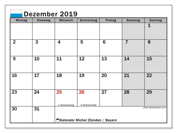 Kalender für Dezember 2019, , mit Feiertagen Bayern. Monatlicher Kalender zum kostenlosen ausdrucken.