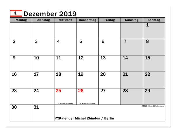 Kalender Dezember 2019, mit den Feiertagen in Berlin. Kalender Feiertage frei zum ausdrucken.