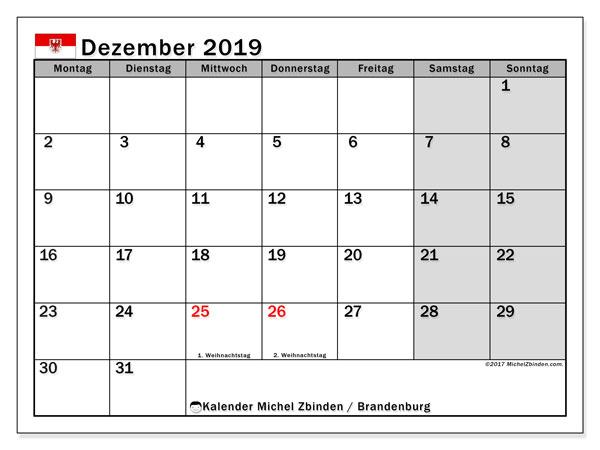 Kalender Dezember 2019, mit den Feiertagen in Brandenburg. Kalender mit Feiertagen zum kostenlosen ausdrucken.