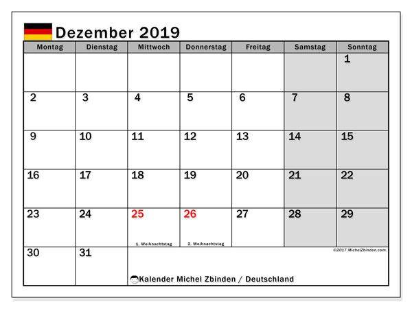 Kalender Dezember 2019, mit den Feiertagen Deutschlands. Kalender Feiertage frei zum ausdrucken.