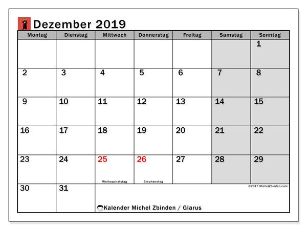 Kalender Dezember 2019, mit den Feiertagen des Kantons Glarus. Kalender Feiertage frei zum ausdrucken.