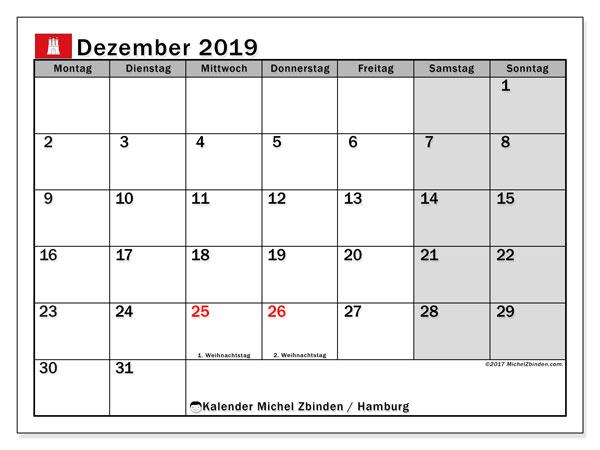 Kalender Dezember 2019, mit den Feiertagen in Hamburg. Kalender Feiertage frei zum ausdrucken.
