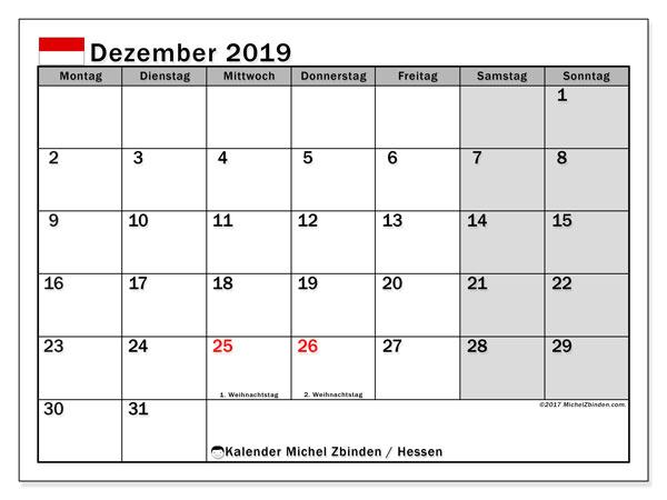 Kalender Dezember 2019, mit den Feiertagen in Hessen. Kalender Feiertage frei zum ausdrucken.