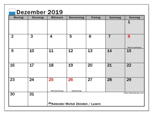 Kalender Dezember 2019, mit den Feiertagen des Kantons Luzern. Kalender mit Feiertagen zum kostenlosen ausdrucken.