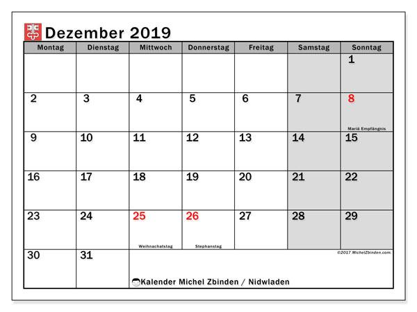 Kalender Dezember 2019, mit den Feiertagen des Kantons Nidwalden. Kalender mit Feiertagen zum kostenlosen ausdrucken.
