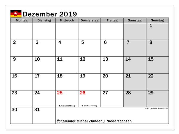 Dezember 2019 Kalender  - Niedersachsen. Kalender zum drucken: Offizielle Feiertage.