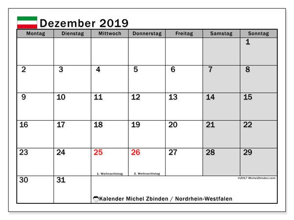 Kalender Dezember 2019, mit den Feiertagen in Nordrhein-Westfalen. Kalender mit Feiertagen zum kostenlosen ausdrucken.