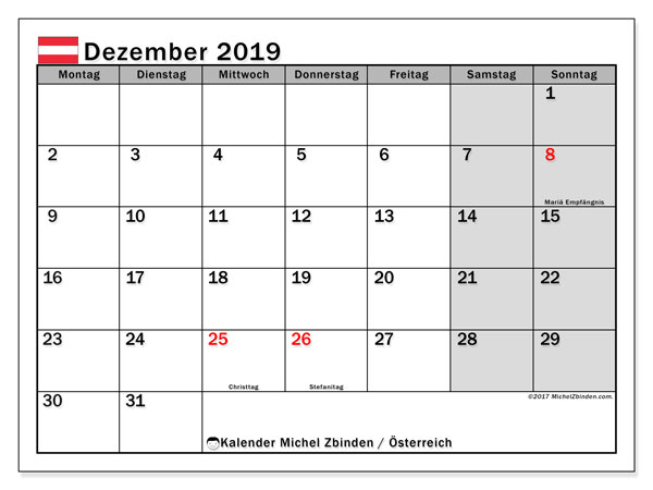 Kalender Dezember 2019, mit den Feiertagen von Österreich. Kalender mit Feiertagen zum kostenlosen ausdrucken.