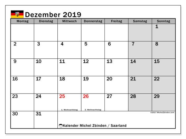 Kalender für Dezember 2019, mit Feiertagen Saarland. Kostenloser Planer zum ausdrucken.