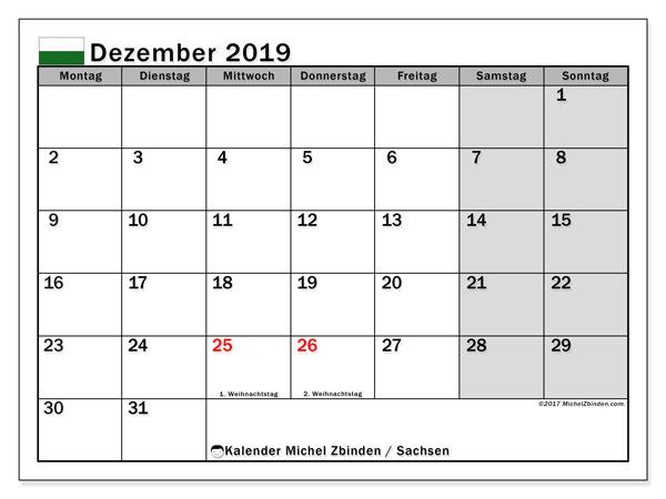 Dezember 2019 Kalender  - Sachsen. Kalender zum drucken: Offizielle Feiertage.