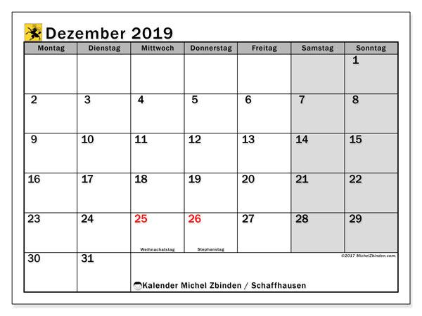 Kalender Dezember 2019, mit den Feiertagen des Kantons Schaffhausen. Kalender Feiertage frei zum ausdrucken.