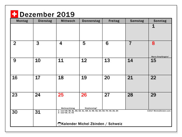 Dezember 2019 Kalender  - Schweiz. Kalender zum drucken: Feiertage.