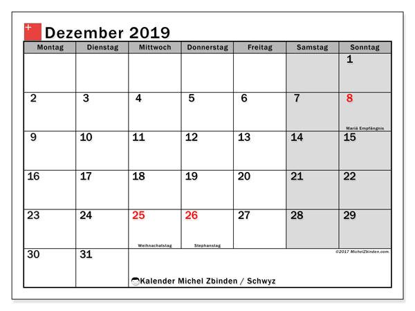 Kalender Dezember 2019, mit den Feiertagen des Kantons Schwyz. Kalender mit Feiertagen zum kostenlosen ausdrucken.