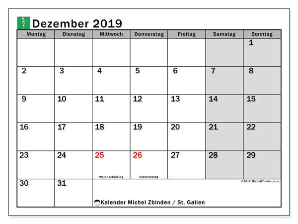 Kalender Dezember 2019, mit den Feiertagen des Kantons St. Gallen. Kalender Feiertage frei zum ausdrucken.
