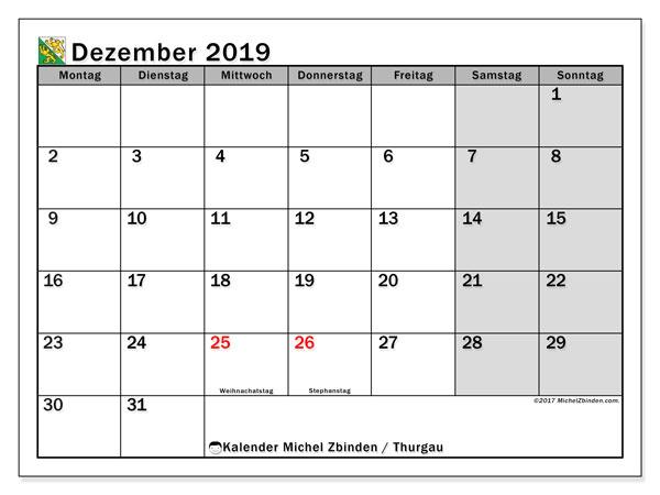 Dezember 2019 Kalender  - Thurgau. Kalender zum drucken: Feiertage.