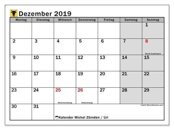 Kalender Dezember 2019, mit den Feiertagen des Kantons Uri. Kalender Feiertage frei zum ausdrucken.