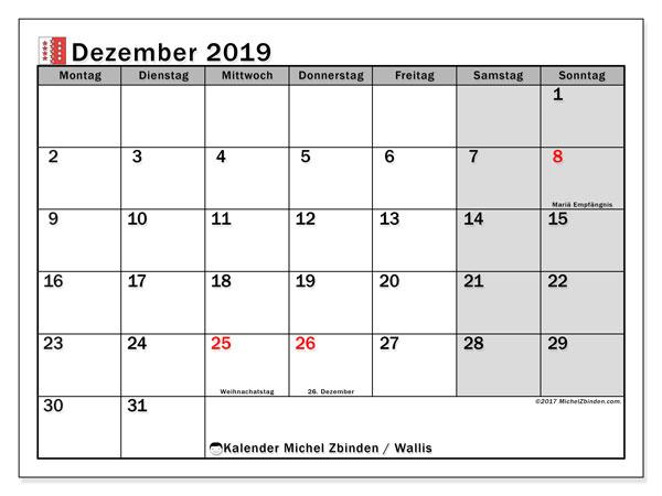 Kalender für Dezember 2019, mit Feiertagen des Kantons Wallis. Kostenlos ausdruckbare Kalender.