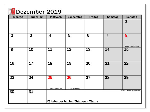 Dezember 2019 Kalender  - Wallis. Kalender zum drucken: Offizielle Feiertage.