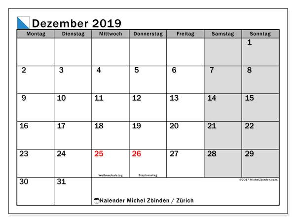 Kalender Dezember 2019, mit den Feiertagen des Kantons Zürich. Kalender Feiertage frei zum ausdrucken.