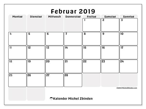 Kalender zu drucken 2019 (MS)