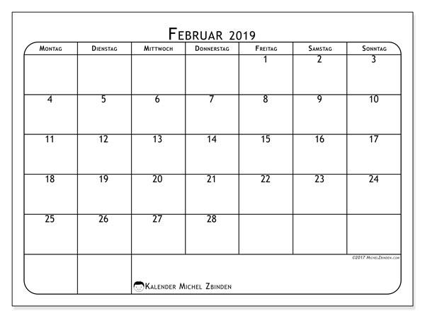 Kalender Februar 2019, 51MS. Kostenloser Planer zum ausdrucken.