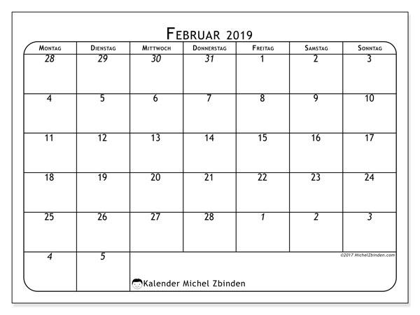 Februar 2019 Kalender  - 67MS. Kalender zum drucken: Arbeistplan für den Monat.