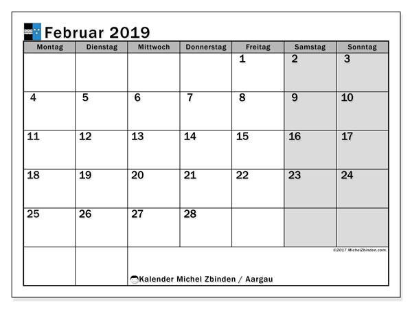 Kalender für Februar 2019, , mit Feiertagen des Kantons Aargau. Monatlicher Kalender zum kostenlosen ausdrucken.