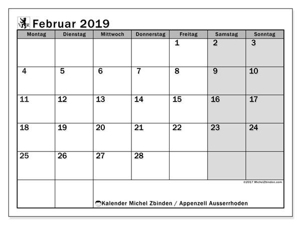 Kalender für Februar 2019, mit Feiertagen des Kantons Apenzell Ausserrhoden. Monatskalender zum kostenlosen ausdrucken.