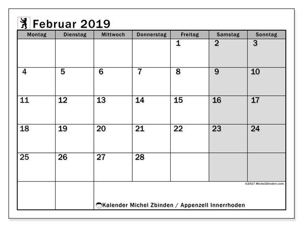 Kalender für Februar 2019, mit Feiertagen des Kantons Apenzell Innerrhoden. Planer zum kostenlosen ausdrucken.