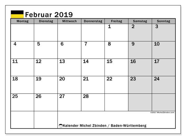 Kalender für Februar 2019, mit Feiertagen Baden-Württemberg. Monatlicher Zeitplan zum kostenlosen ausdrucken.