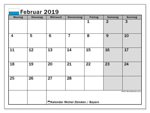 Kalender für Februar 2019, mit Feiertagen Bayern. Kostenloser Kalender zum ausdrucken.
