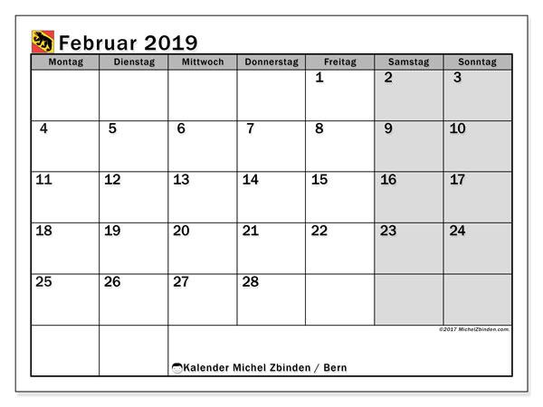 Kalender für Februar 2019, mit Feiertagen des Kantons Bern. Kostenlos ausdruckbare Planer.