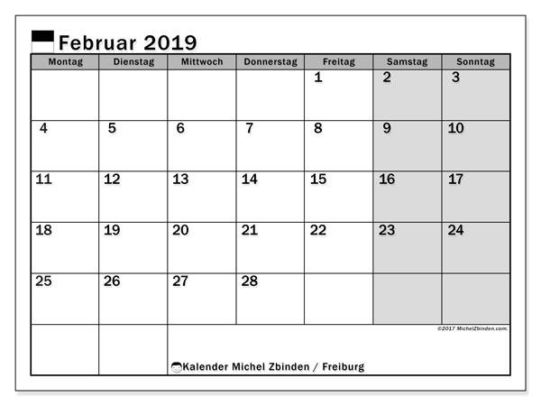 Kalender für Februar 2019, , mit Feiertagen des Kantons Freiburg. Monatlicher Kalender zum kostenlosen ausdrucken.