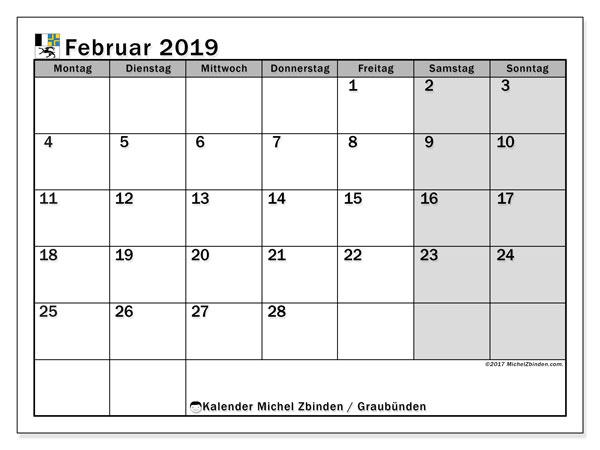 Kalender für Februar 2019, mit Feiertagen des Kantons Graubünden. Kostenloser Planer zum ausdrucken.