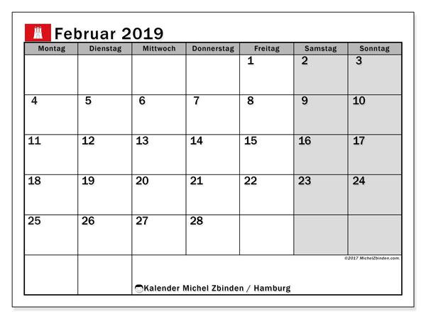 Kalender für Februar 2019, , mit Feiertagen Hamburg. Zeitplan zum kostenlosen ausdrucken.