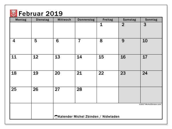 Kalender für Februar 2019, mit Feiertagen des Kantons Nidwalden. Monatskalender zum kostenlosen ausdrucken.