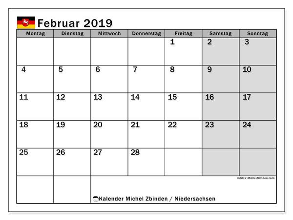 Kalender für Februar 2019, mit Feiertagen Niedersachsen. Monatlicher Zeitplan zum kostenlosen ausdrucken.