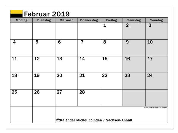 Kalender für Februar 2019, mit Feiertagen Sachsen-Anhalt. Kostenloser Kalender zum ausdrucken.