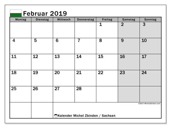 Kalender für Februar 2019, mit Feiertagen Sachsen. Monatskalender zum kostenlosen ausdrucken.