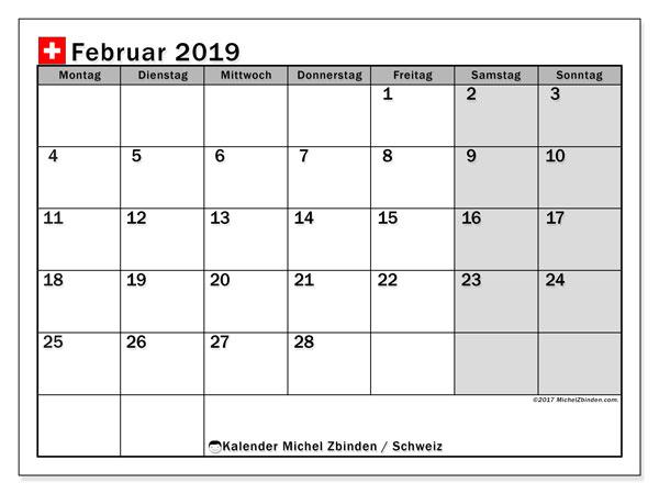Kalender für Februar 2019, mit Feiertagen in der Schweiz. Kalender zum kostenlosen ausdrucken.