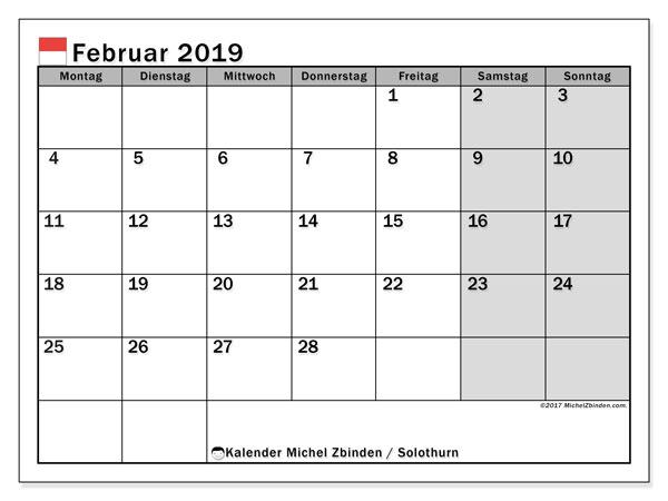 Kalender für Februar 2019, mit Feiertagen des Kantons Solothurn. Zeitplan zum kostenlosen ausdrucken.