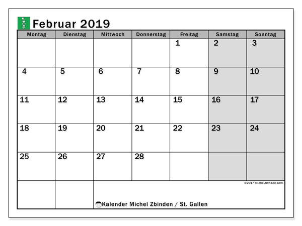Kalender für Februar 2019, mit Feiertagen des Kantons St. Gallen. Kostenloser Kalender zum ausdrucken.