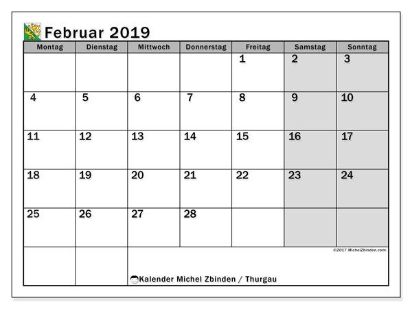 Kalender für Februar 2019, mit Feiertagen des Kantons Thurgau. Kostenlos ausdruckbare Planer.