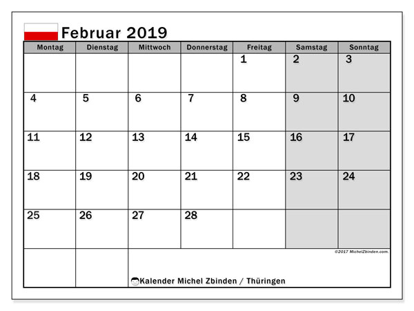 Kalender für Februar 2019, , mit Feiertagen Thüringen. Zeitplan zum kostenlosen ausdrucken.