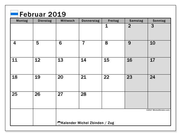 Kalender für Februar 2019, , mit Feiertagen des Kantons Zug. Monatlicher Kalender zum kostenlosen ausdrucken.