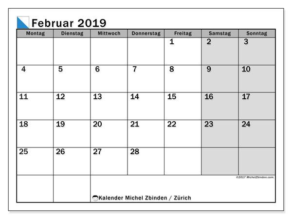 Kalender für Februar 2019, , mit Feiertagen des Kantons Zürich. Kalender zum kostenlosen ausdrucken.