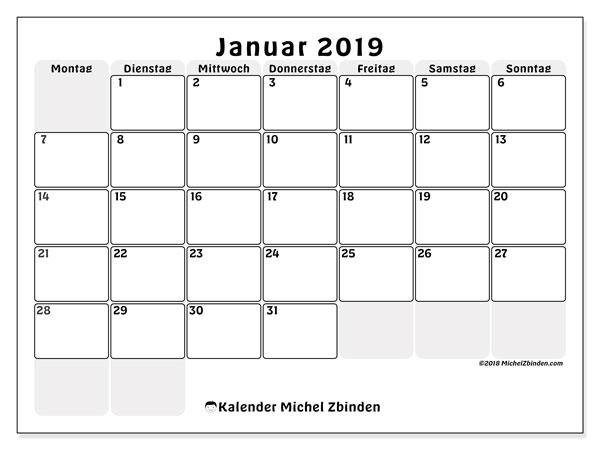 Kalender Januar 2019 (44MS). Monatlicher Zeitplan zum kostenlosen ausdrucken.