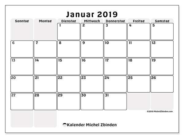Kalender Januar 2019, 44SS. Monatlicher Zeitplan zum kostenlosen ausdrucken.